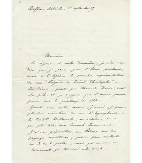 INDY Vincent d', compositeur. Lettre autographe (G 3380)