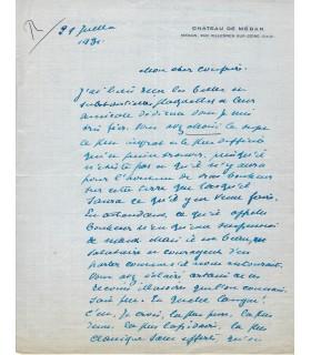 MAETERLINCK Maurice, écrivain. Lettre autographe (E 10527)