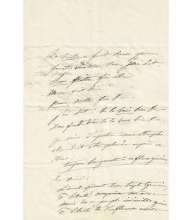 """COLET Louise. Femme de lettres. La """"Muse"""" de Gustave Flaubert. Lettre Autographe (sans date)"""