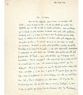MAURIAC François, écrivain. Lettre autographe (G 5558)