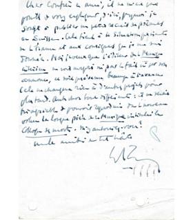 MAURRAS Charles, écrivain et homme politique. Lettre autographe (E 10530)