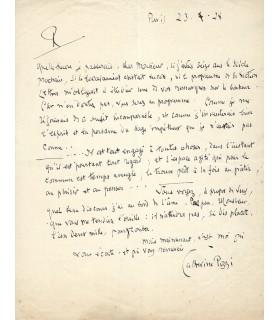 POZZI Catherine. Poétesse. Lettre autographe (E 10541)