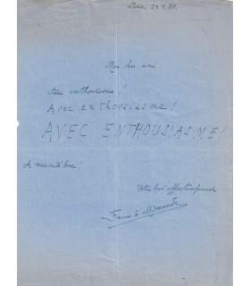 MIOMANDRE Francis de. Ecrivain. lettre autographe (G 5245)
