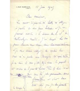 EIFFEL Gustave. Ingénieur. Lettre autographe (incomplète) (Réf. G 3991)