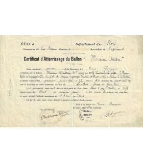 BALLON MONTE. Certificat d'atterrissage (Réf. G 3825)