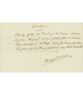 """CHABANEIX Philippe. Poète. Manuscrit (poème) intitulé """"Quatrain"""" (Réf. G 2198)"""