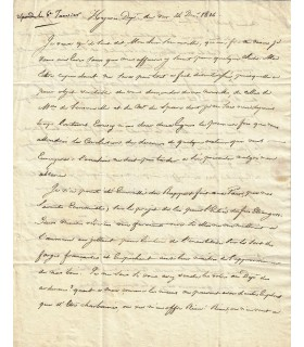 CROIX, marquis de. Pair de France. Lettre autographe au comte de Sémonville,1814 (Réf. G 1072)