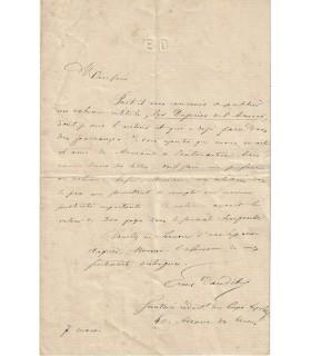 DAUDET Ernest. Ecrivain, frère d'Alphonse DAUDET. Lettre autographe, 1865 (Réf. G 20)