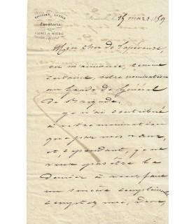 DAUMAS Eugène. Général et écrivain. Lettre autographe, 1859 (Réf. G 2736)