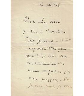 DESCHANEL Paul. Président de la République française. Lettre autographe (E 10558)