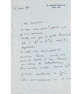 DOMERGUE Jean-Gabriel. Peintre, portraitiste. Lettre autographe, 16 mai 1938 (Réf. G 5340)