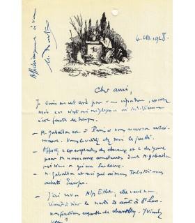 DOUKING (Georges Ladoubée, dit). Artiste peintre. Lettre autographe à Pierre Abraham (Réf. G 1427)