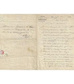 ENFANTIN Prosper. Chef de file du mouvement saint-simonien. Lettre autographe à Girod de l'Ain (Réf. G 3795)