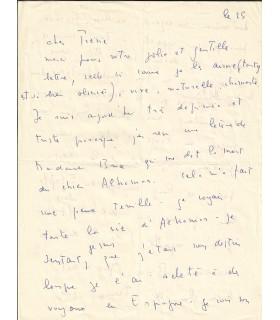 FINI Leonor. Peintre surréaliste. Lettre autographe (Corse, 25 juillet 1963) (Réf. G 3186)