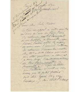 GUDIN Théodore Jean Antoine. Peintre. 3 lettres, vers 1871 (Réf. G 4355)
