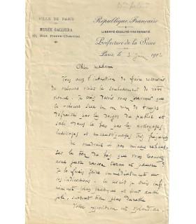HAUTE COUTURE - DELARD (Eugène). Lettre autographe à la couturière JEANNE PAQUIN, 1912 (Réf. G 895)
