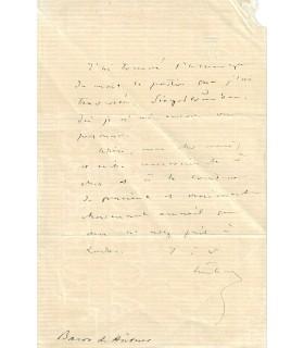 HÜBNER Joseph Alexandre. Diplomate autrichien. Lettre autographe, 1870 ( E 10559)