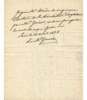 JOURDAN Jean-Baptiste. Maréchal d'Empire. Billet autographe, 14 avril 1826 (Réf. G 531)