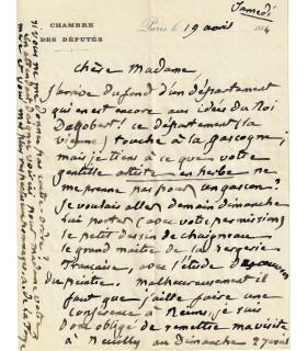 LA FORGE Anatole. Préfet de l'Aisne. Député de la Seine. Lettre autographe (Réf. G 71)