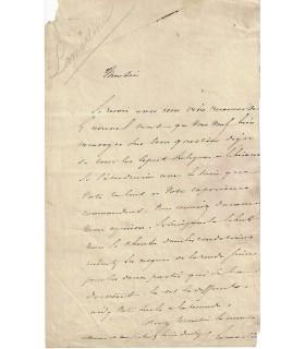 LAMARTINE Alphonse de. Poète, romancier, dramaturge. Homme politique. Lettre autographe ( E 10560)