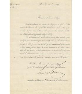 LE VERRIER Urbain. Astronome et mathématicien, découvreur de Neptune. Lettre signée, 1873 (Réf. G 4043)