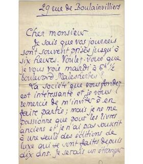 LOUŸS Pierre. Poète, écrivain, grand ami de Gide, marié à Louise de Heredia. Lettre autographe (Réf. 27218)