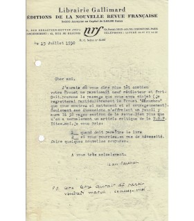 PAULHAN Jean. Ecrivain. Directeur de la NRF chez Gallimard. Lettre dactylographiée signée (Réf. G 1485)