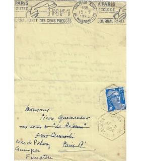 PEISSON Edouard. Ecrivain de romans maritimes. Lettre autographe (Réf. G 336)