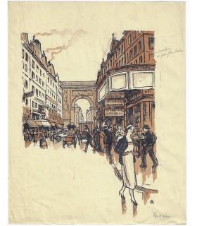RENEFER Raymond. Peintre, graveur et illustrateur. 2 billets autographes + dessins originaux et bois gravés