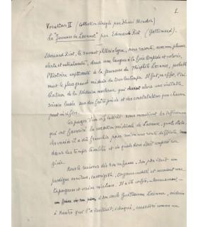 (LAENNEC) Manuscrit sur Laennec par Edouard RIST