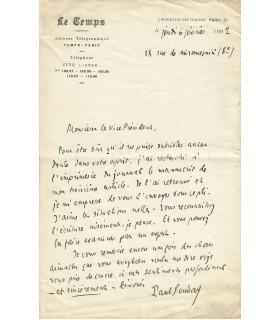 SOUDAY Paul. Critique littéraire. Lettre autographe (Réf. G 790)