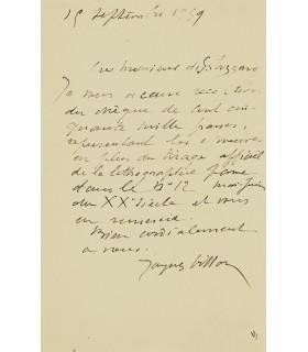VILLON Jacques. Peintre. frère de Marcel Duchamp. Lettre autographe au directeur de la revue XXe siècle (Réf. G 3199)