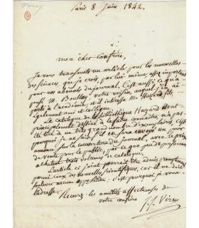 VIREY Julien Joseph. Naturaliste et anthropologue. Memebre de l'Académie de Médecine. Lettre autographe (Réf. G 122)