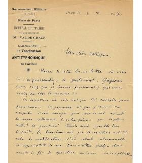 VLES Fred. Biologiste et physicien. Lettre autographe à une collègue (Réf. G 1809)