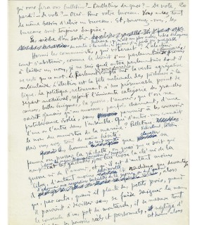 AUDIBERTI Jacques. Ecrivain, poète et dramaturge. Manuscrit autographe sur la politique (Réf. 22736)