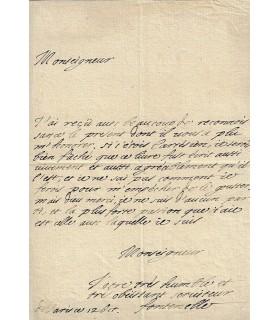 FONTENELLE Bernard Le Bovier de. Ecrivain, philosophe, scientifique du Grand Siècle.  Lettre autographe à Huet.