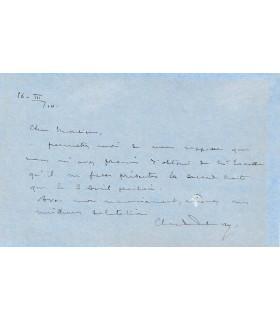 DEBUSSY Claude. Compositeur. Lettre autographe, 1910 (Réf. G 4314)