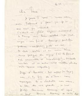 FINI Léonor.Peintre surréaliste. Lettre autographe, (Corse) 11 juin 1961 (Réf. G 3163)