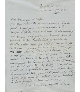 TZARA Tristan. Ecrivain, essayiste, fondateur du mouvement Dada. Lettre autographe, à Franz Hellens, 1924 (Réf. G 4277)