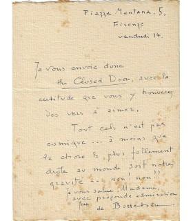 BOSSCHERE Jean de. Ecrivain et peintre, né en Belgique. Lettre autographe, vers 1922 (Réf. G 5654)