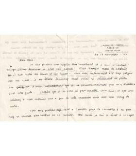 BEACH Sylvia. Ecrivaine, traductrice, éditrice américaine, fonde la librairie Shakespeare et Co. Lettre autographe, 1936