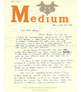 BEDOUIN Jean-Louis. Poète surréaliste. Lettre autographe à René Alleau, 1954 (Réf. G 5868)