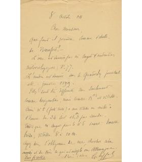 EIFFEL Gustave, ingénieur. Lettre autographe (G3990)