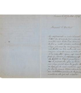 NAYSSER A.B, naturaliste. Lettre autographe (G 2176)