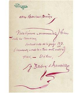 BARBEY D'AUREVILLY, Billet Autographe Signé