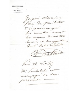 BALTARD Victor. Architecte. Grand prix de Rome. Lettre autographe (Réf. G 5224)