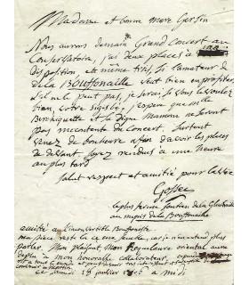 GOSSEC François Joseph. Lettre autographe signée