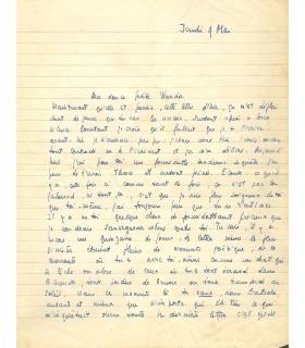 SARTRE, lettre autographe signée à une amante, 9 MAI 1940