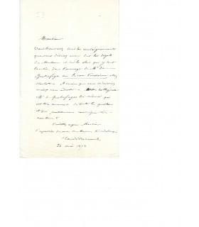 BERNARD (Claude). Médecin et   physiologiste. Lettre autographe (G 3891)