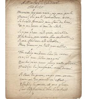 SCARRON, à la façon de. Manuscrit au Cardinal de Richelieu